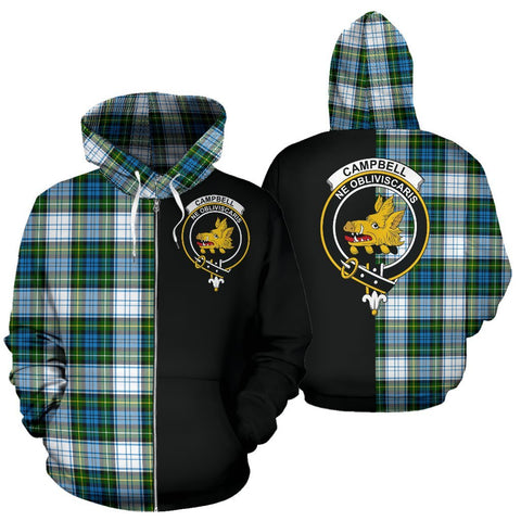 (Custom your text) Campbell Dress Tartan Hoodie Half Of Me TH8