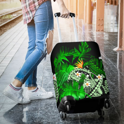 Image of Kanaka Maoli (Hawaiian) Luggage Covers, Polynesian Pineapple Banana Leaves Turtle Tattoo Green