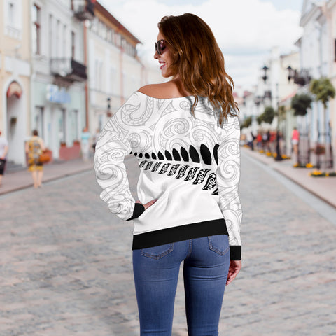 Image of New Zealand - Aotearoa Off Shoulder Sweater (White) A6