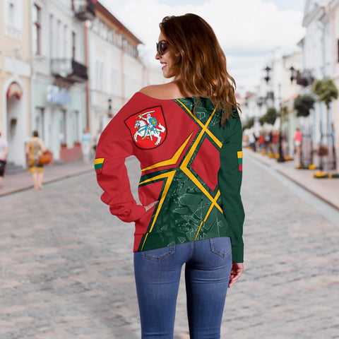 Lithuania Women's Off Shoulder Sweater - Lithuania Legend
