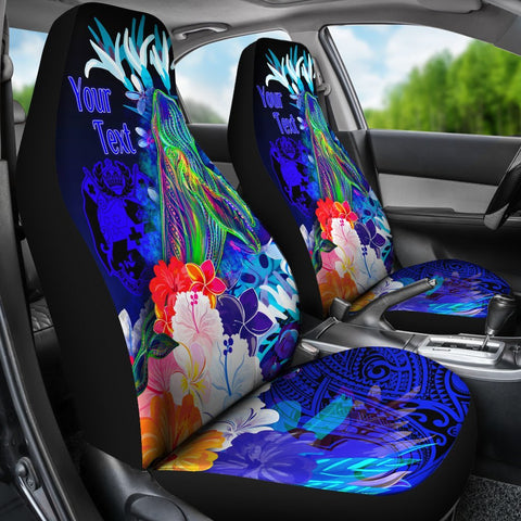 Tonga Custom Personalised Car Seat Covers - Humpback Whale with Tropical Flowers (Blue)