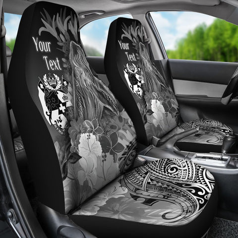 Tonga Custom Personalised Car Seat Covers - Humpback Whale with Tropical Flowers (White)