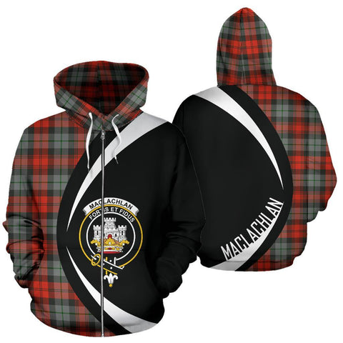 MacLachlan Weathered Tartan Circle Zip Hoodie HJ4