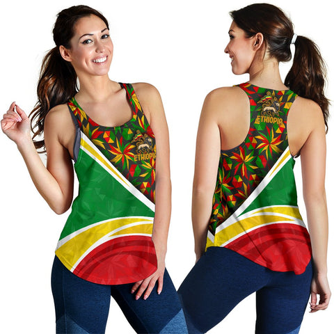 Image of 1stTheWorld Ethiopia Racerback Tank, Ethiopia Lion Of Judah Flag Rasta Women A10