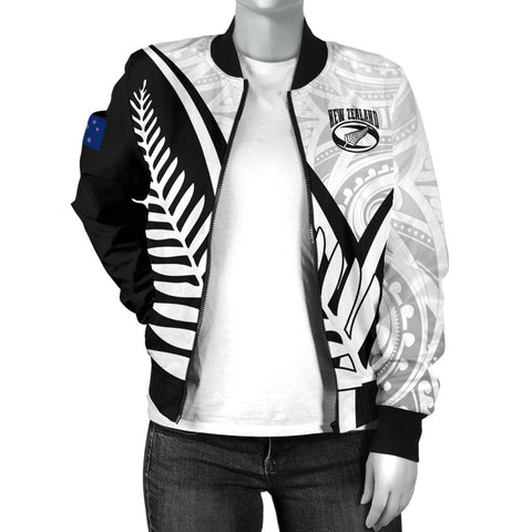 Image of New Zealand Rugby Women's Bomber Jacket - New Zealand Fern & Maori Patterns
