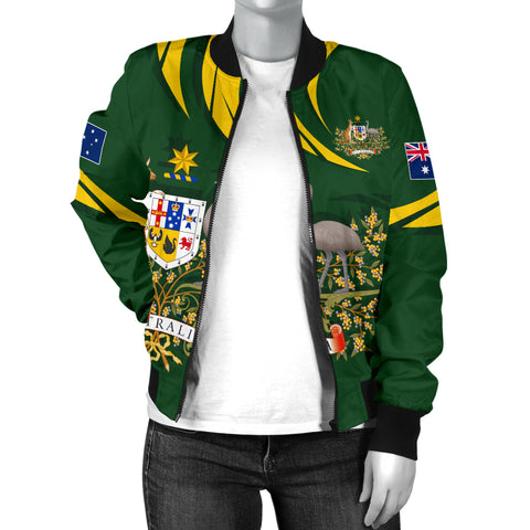 Image of 1stTheWorld Australia Bomber Jacket, Australia Coat Of Arms Women Green A10