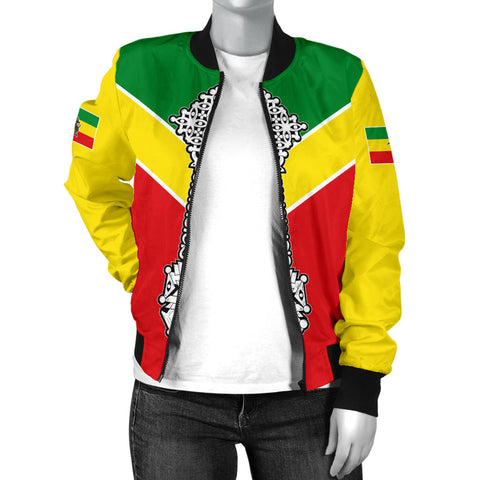 Ethiopian Bomber Jacket, Ethiopia Rising Coptic Cross Lion WomenA10