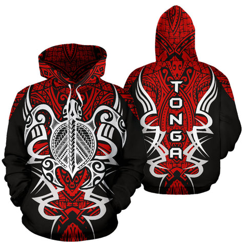 Image of Tonga Turtle Polynesian Red Hoodie - Armor Style J9