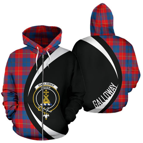 Galloway Red Tartan Circle Zip Hoodie HJ4