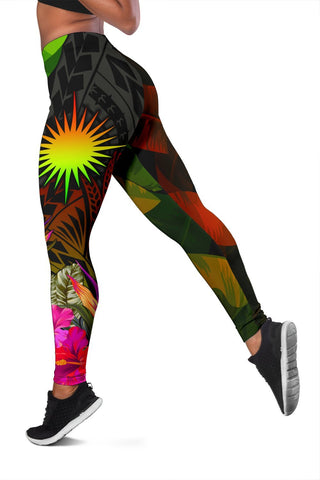 Image of Marshall Islands Polynesian Personalised Women's Leggings -  Hibiscus and Banana Leaves