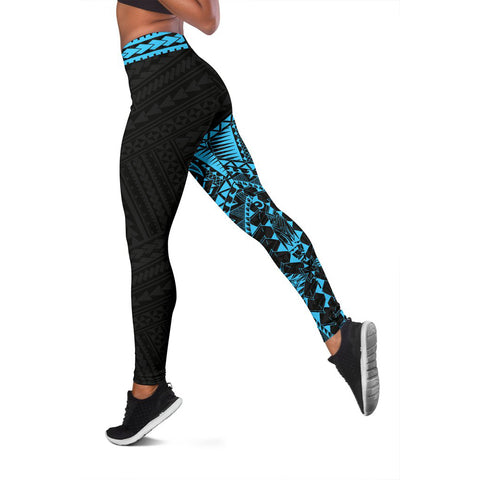 Polynesian Leggings Turtle Tattoo Turquoise A62