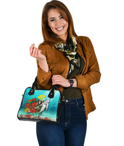 Kanaka Maoli (Hawaiian) Shoulder Handbag - Ocean Turtle Hibiscus | Love The World