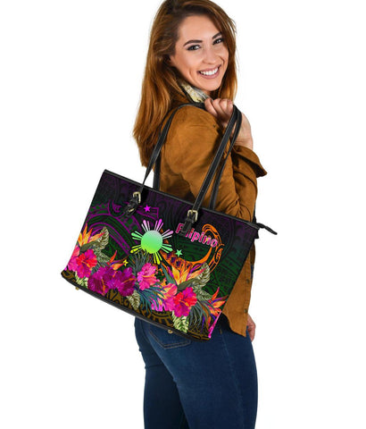 The Phillipines Large Leather Tote - Summer Hibiscus