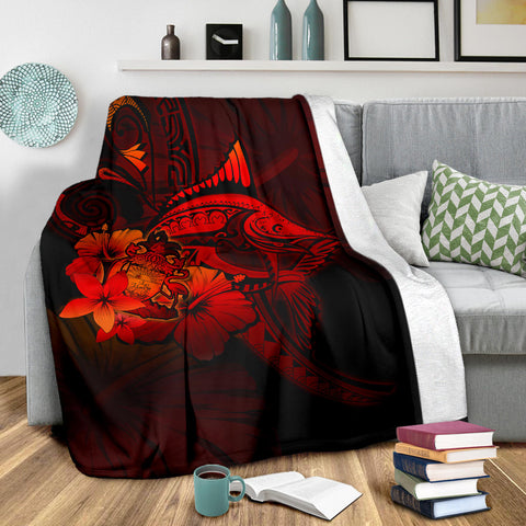 The Bahamas Premium Blanket - Red Marlin and Hibiscus A18