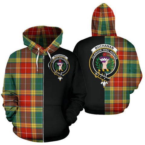 (Custom your text) Buchanan Old Sett Tartan Hoodie Half Of Me TH8