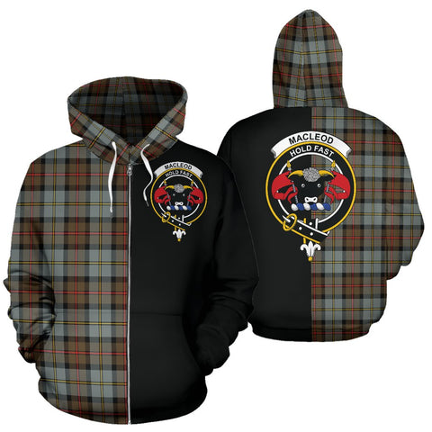 MacLeod of Harris Weathered Tartan Hoodie Half Of Me TH8