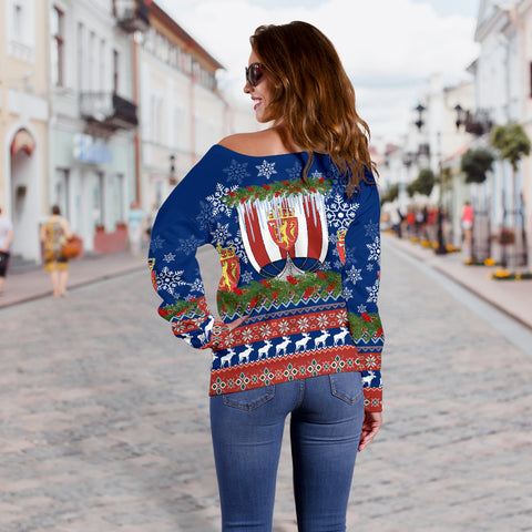 Norway Viking Ship Christmas Women's Off Shoulder Sweater TH4