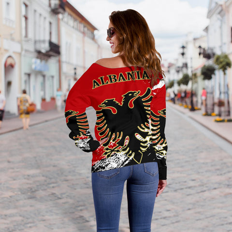 Albania Special Women's Off Shoulder Sweater A7