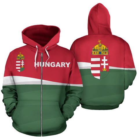 Hungary Zip Up Hoodie - Red mix White and Green color - Front and Back - For Men and Women