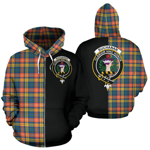 (Custom your text) Buchanan Ancient Tartan Hoodie Half Of Me TH8