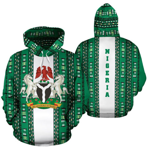 Nigeria Flag with Dashiki Hoodie K5