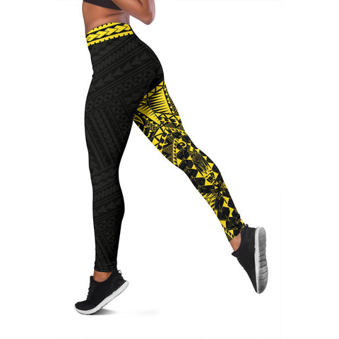 Polynesian Leggings Turtle Tattoo Yellow A62