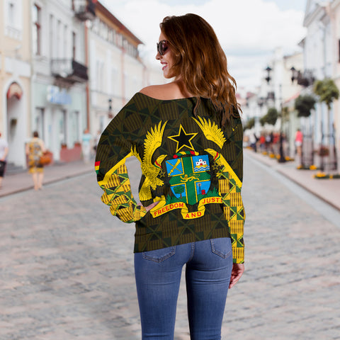 Ghana Coat Of Arm Kente Women's Off Shoulder Sweater - J4