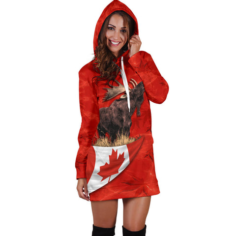 Canada Moose Hoodie Dress Maple Leaf K4
