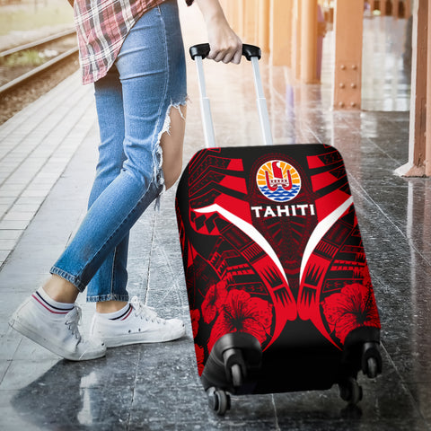 Tahiti Tattoo Luggage Covers Hibiscus - Red Color 3