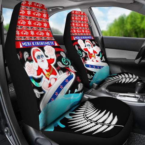 New Zealand Santa Christmas Car Seat Covers Pohutukawa Fern And Kiwi K13
