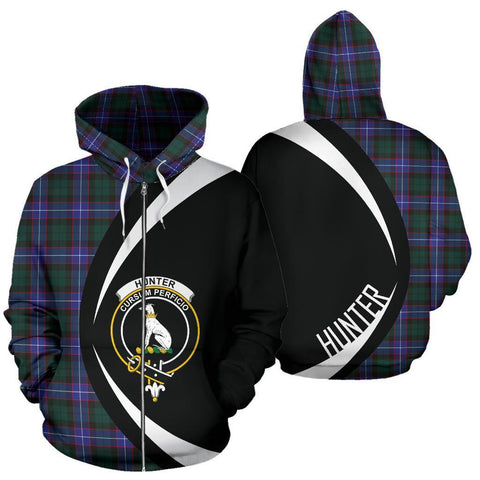 Image of Hunter Modern Tartan Circle Zip Hoodie HJ4