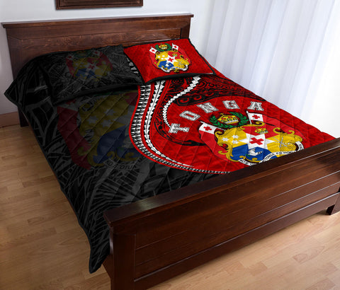 Image of Tonga Quilt Bed Set Kanaloa Tatau Gen TO (Black) TH65