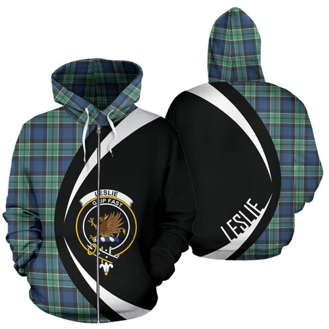 Leslie Hunting Ancient Tartan Circle Zip Hoodie HJ4
