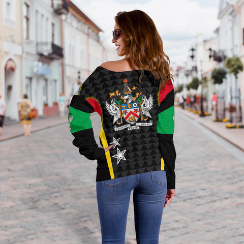 Saint Kitts And Nevis Off Shoulder Sweater Exclusive Edition K4