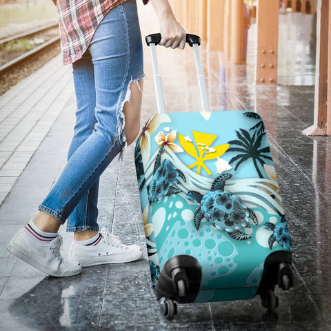 Hawaii Luggage Covers - Blue Turtle Hibiscus A24