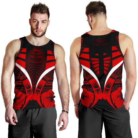 Image of Polynesian Tattoo Men Tank Top Hibiscus Red 3