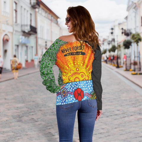 Aboriginal Australian Anzac Day Off Shoulder Sweater - Lest We Forget Poppy 3