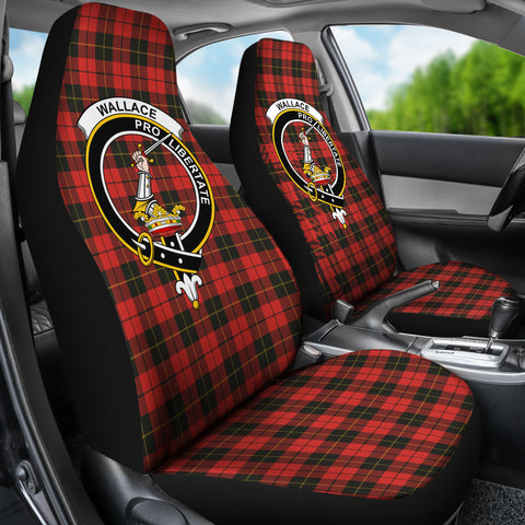 Image of Wallace Tartan Car Seat Cover - Clan Badge K7