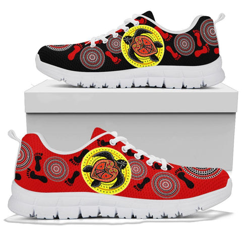 Australia Aboriginal Sneakers, Turtle Footprint Circle Dot Painting Ver 09