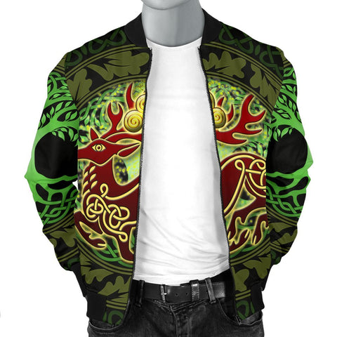 Celtic Deer with Tree of Life Men's Bomber Jacket - The God of the Forest - BN21