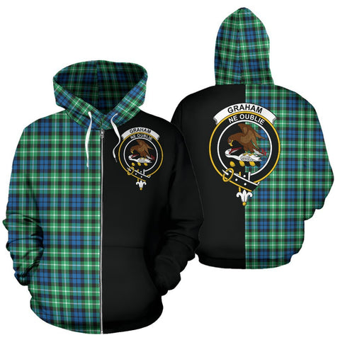 (Custom your text) Graham of Montrose Ancient Tartan Hoodie Half Of Me TH8