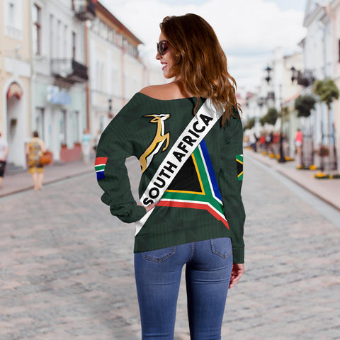 Image of South Africa Off Shoulder Sweater Springbok Miss Universe Style K4