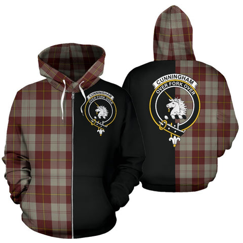 (Custom your text) Cunningham Burgundy Dancers Tartan Hoodie Half Of Me TH8