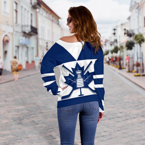 Canada Hockey Maple Leaf Champion Off Shoulder Sweater K4