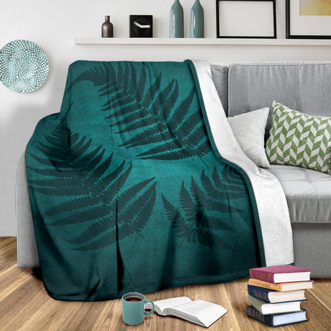Image of Green Blue New Zealand Fern Premium Blanket A02