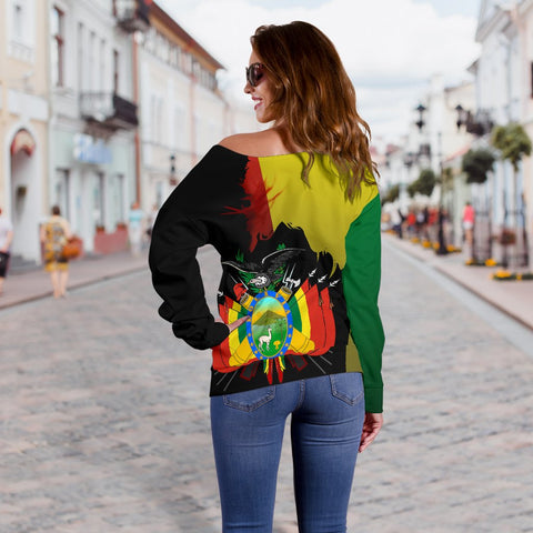 Bolivia Flag-Coat of Arms Off Shoulder Sweater A15