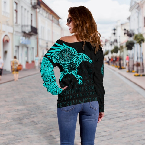 Viking Ravens Tattoo Off Shoulder Sweater A7
