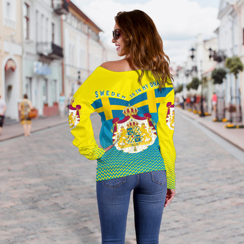 Image of Sweden Off Shoulder Sweater - Sweden Victory - Yellow mix Blue - Back - For Women