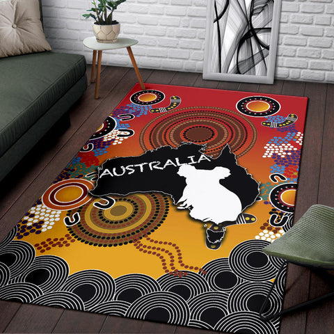Australia Aboriginal Area Rug With Map TH4