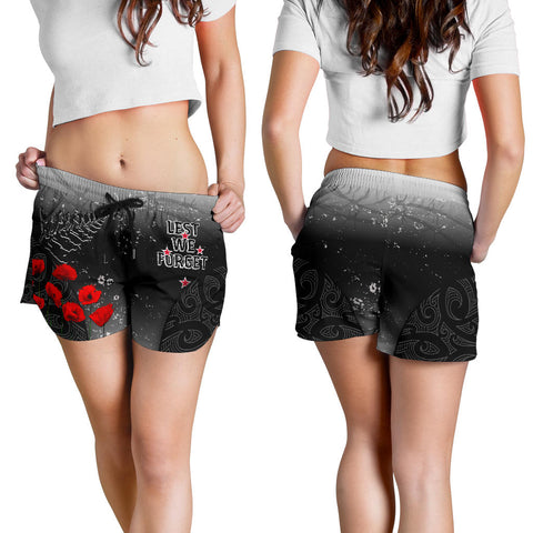 Image of New Zealand Anzac Women's Shorts - Lest We Forget Poppy| 1sttheworld
